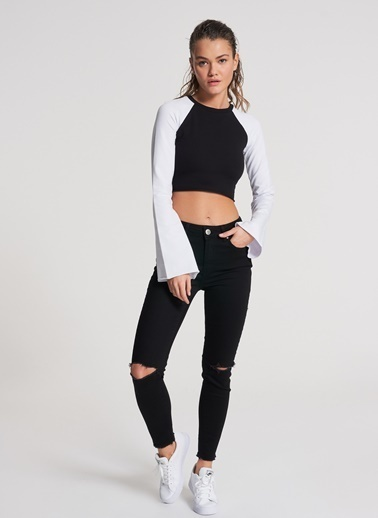 Pi π Crop Sweatshirt Siyah